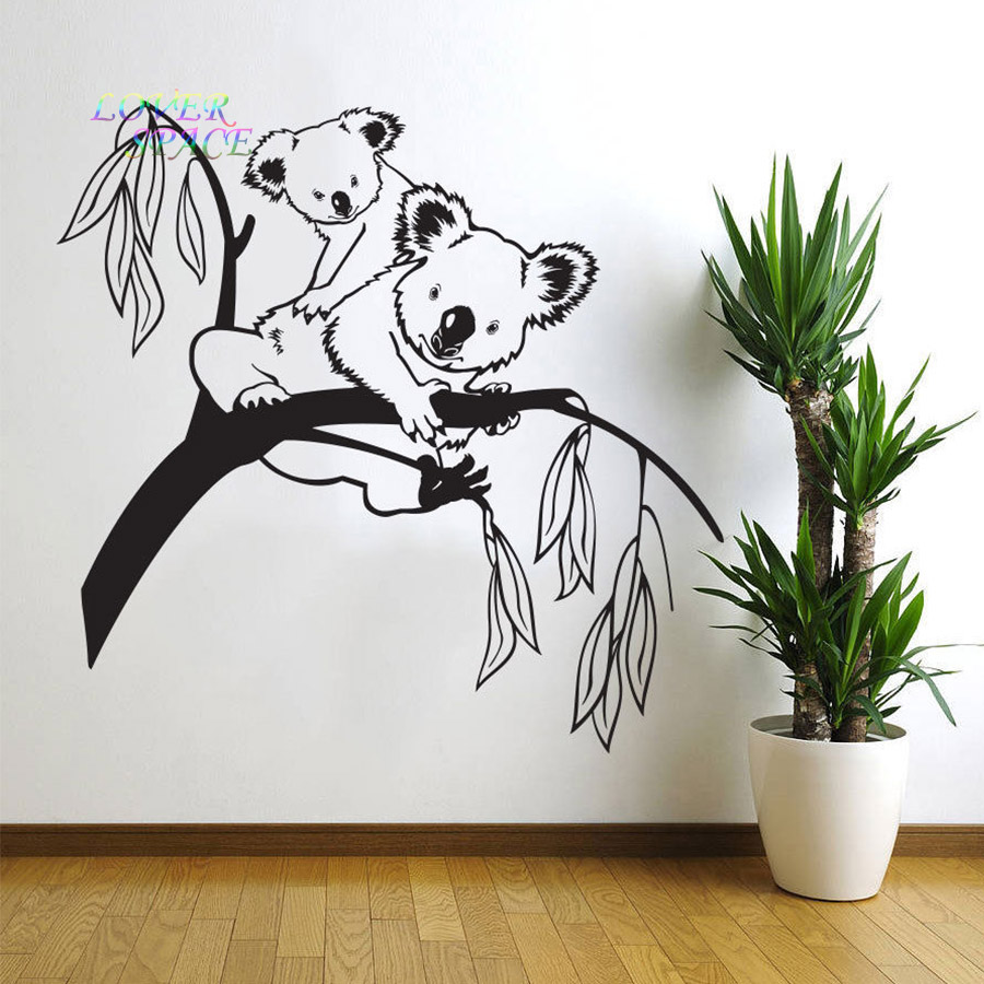 Removable tree branches koala bear baby nursery room wall decal removable tree branches koala bear baby nursery room wall decal art decor sticker vinyl wall stickers for kids rooms 572x565mm in wall stickers from home amipublicfo Image collections