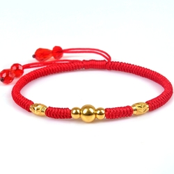 999 New Pure 24K Yellow Gold Fine Smooth & Carved Bead Link Woman's Lucky Knitted Chain Bracelet