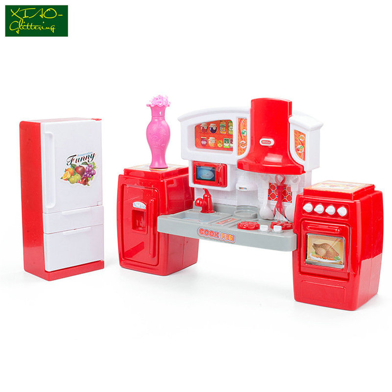 Kids Kitchen Toys Set Beauty Cooking Toy Play For Children Toys Pretend Play Toys Light Sound Effect Funny Play House Miniature