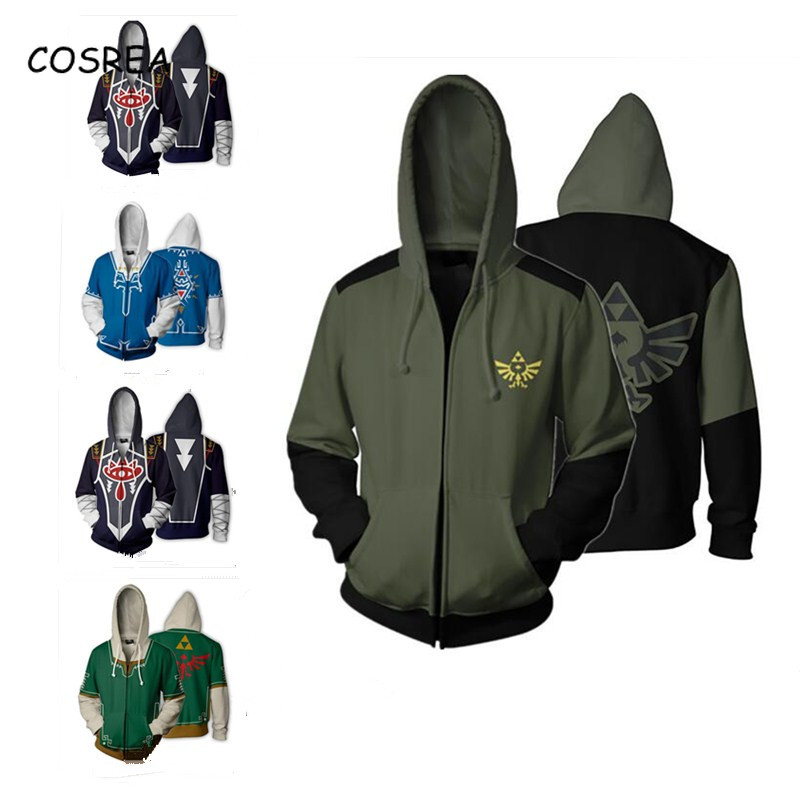 The Legend of Zelda: Breath of the Wild Man Tops Casual Cool Coat Jacket Fashion Sweatshirts Full Zip Hoodies Cosplay Costumes