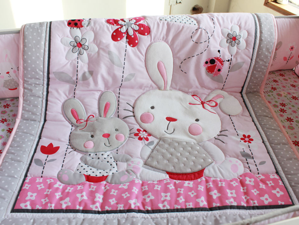 7 Pieces Crib Newborn Baby Bedding Blanket Set Embroidery