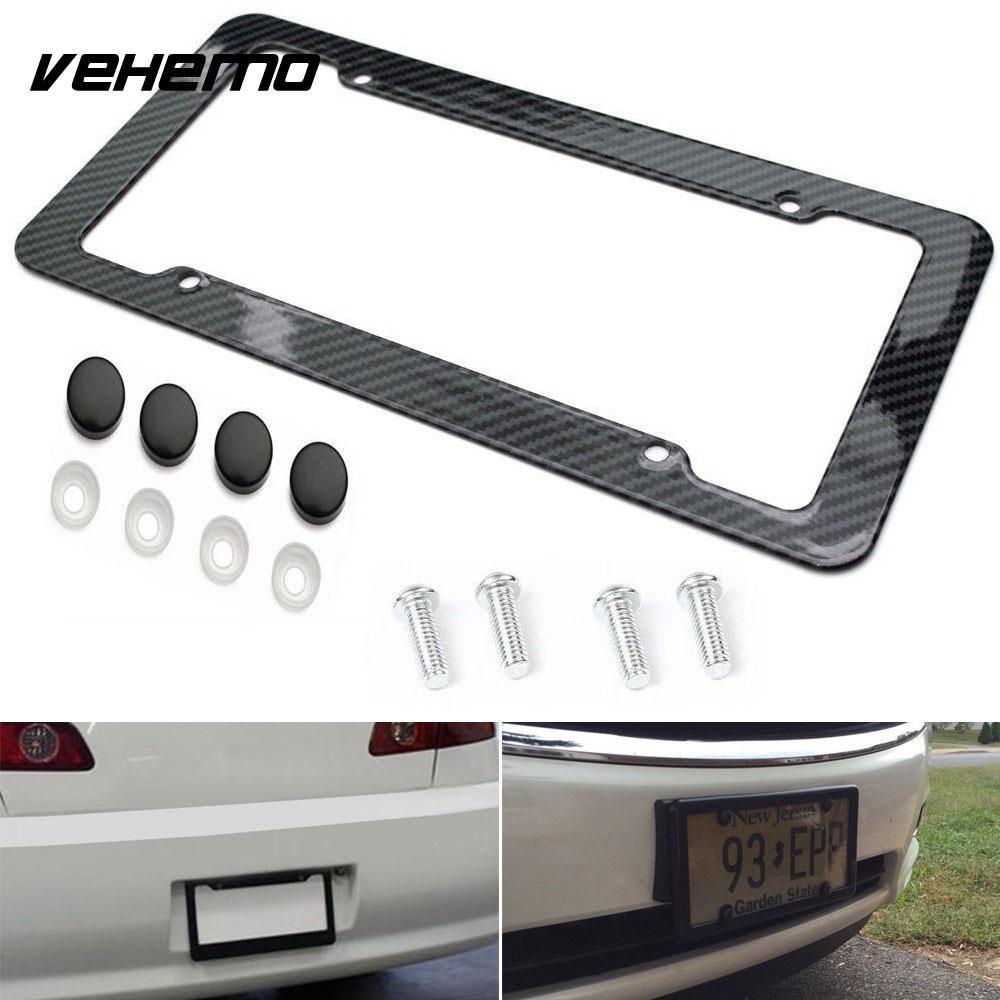 2 Pcs Hitam Pola Serat Karbon Bingkai Plat Mobil Styling Auto Frame Cover Nomor Motor Universal Metal Lisensi Rentang Truk