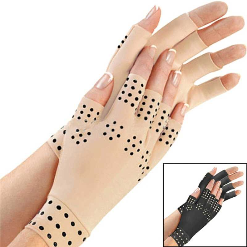 Magnetic Wrist Support Cycling Gloves Anti Arthritis Health Compression Therapy  Fingerless Gloves