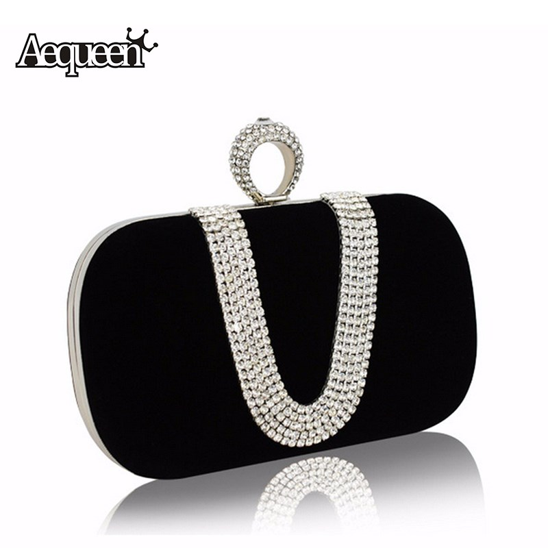 AEQUEEN Women Crystal Evening Clutch Bags 2017 Diamond Handbags Wedding Party Purse Rhinestones Shoulder Luxury Banquet Vintage new women diamond wedding bride shoulder crossbody bags gold clutch tassel evening bags party purse banquet handbags mujer yh50