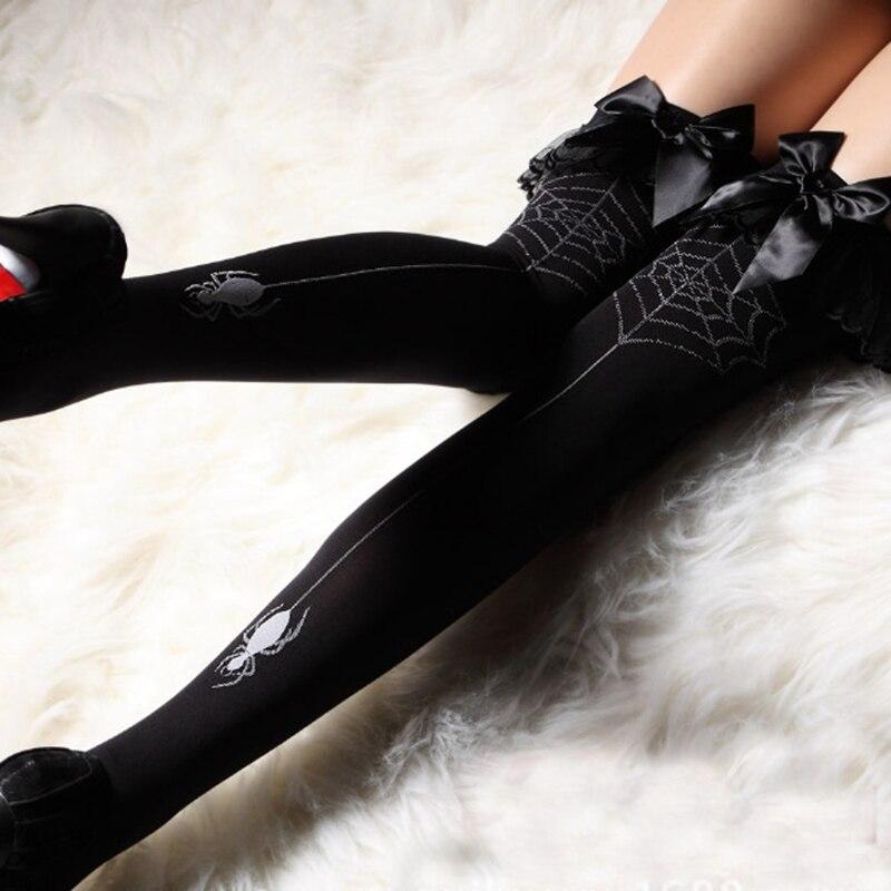 Spider Net Bow یکپارچهسازی با سیستمعامل سکسی بیش از جوراب ساق بلند زانو کلوپ شبانه زنان توری سیاه جوراب ساق بلند جوراب ساق بلند