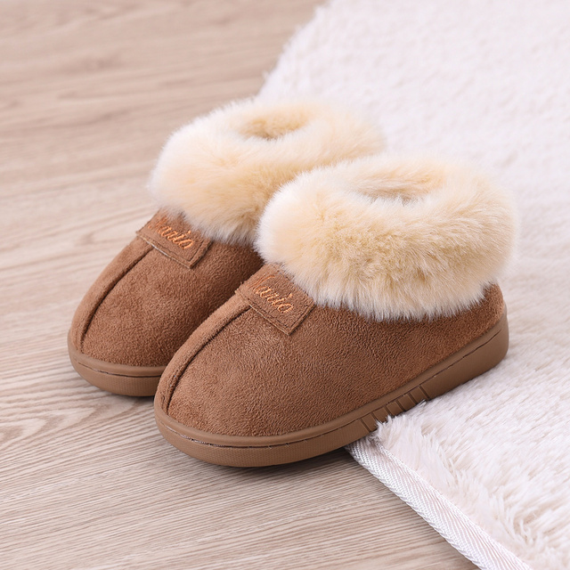 2016 New Warm Winter Children Slippers Boys Girls Slippers Fashion Comfortable Slip On Children Cotton Shoes Kids Home Slippers