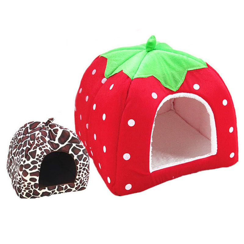 pawstrip 5 Size Cute Strawberry Dog Bed House Winter Cat Bed Leopard - Producten voor huisdieren