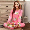 Mulheres Pijama Define Promoção 2016 Casual Manga Comprida O Pescoço Da Senhora Pijamas Mulheres Sleepwear Outono Padrão Dos Desenhos Animados Roupa de Dormir