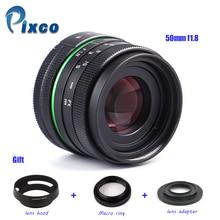 50mm f / 1.8 Nikon 1 / M4 / 3 / Pentax Q / Nex / Fuji / canonM 카메라 용 APS-C 렌즈 + 렌즈 후드 + 매크로 링 + 16mm C 마운트 어댑터