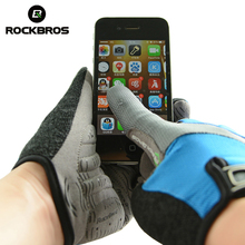 ROCKBROS Winter Riding Gloves Gel Phone Touch Screen Long Gloves Slim Washable Windproof Warm Full Finger