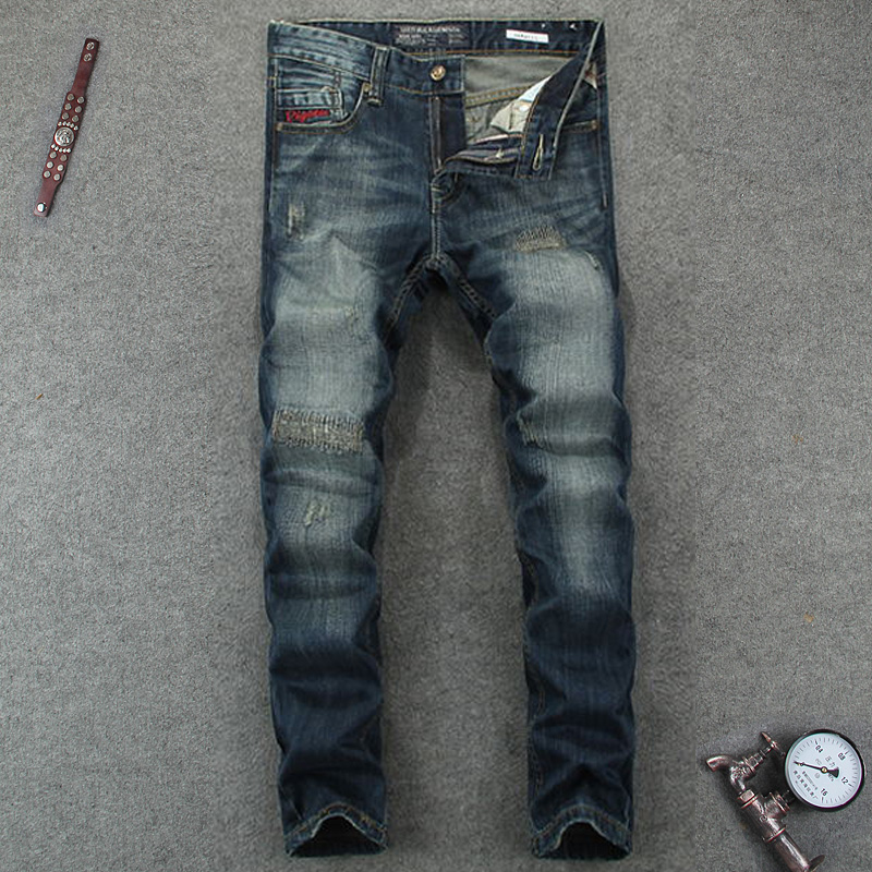 Mid Stripe Men`s Dark Jeans Ripped Slim Fit Denim Pants Male High Quality Designer Brand Clothing Moto Jeans Patchwork Men RL607 classic mid stripe men s buttons jeans ripped slim fit denim pants male high quality vintage brand clothing moto jeans men rl617