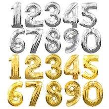 32 дюйма 0-9 Большие Гелиевые цифровые воздушные шары из фольги серебристого, золотого, розового цвета, детские игрушки для вечеринки на день рождения, детские игрушки с мультяшными шапками