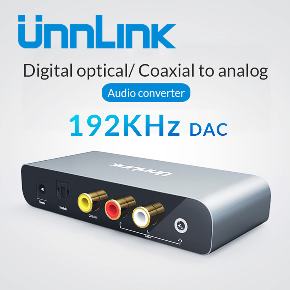 Unnlink Digital to Analog Audio Converter 192KHz 24Bit DAC SPDIF Optical Coaxial Fiber Toslink Signal to RCA Adapter for TV DVD newest 96kh coaxial rca audio signal to optical spdif toslink digital audio signal converter adapter box