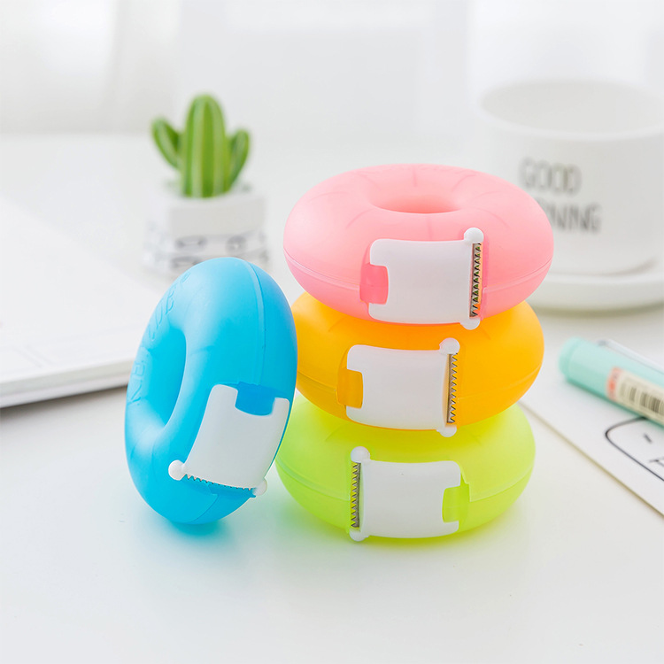 Korea Creative Cartoon Tape Dispenser Stationery Portable Donut Tape Holder Invisible Tape Cutter With Small Tape Inside