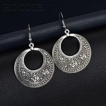 Alloy earrings metal Statement Bohemian Vintage Earrings with Carved Big Hanging Hoop Earring For women girl Jewelry Accessories pair of vintage alloy hoop earrings for women
