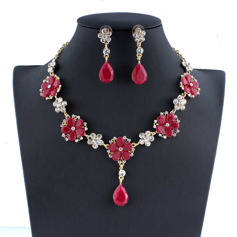 jiayijiaduo trendy african beads jewelry set gold-color for women flower necklace earrings for wedding gift dropshipping