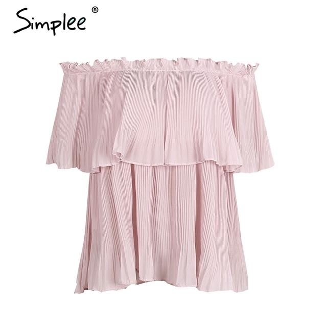 Simplee Off shoulder ruffle chiffon blouse shirt Casual loose pleated short sleeve shirt women tops Summer beach white bluasa