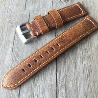 20mm 22mm Oil Wax Brown Gray Italy Genuine Leather Strap Retro Classic Men Women Watchband Belt