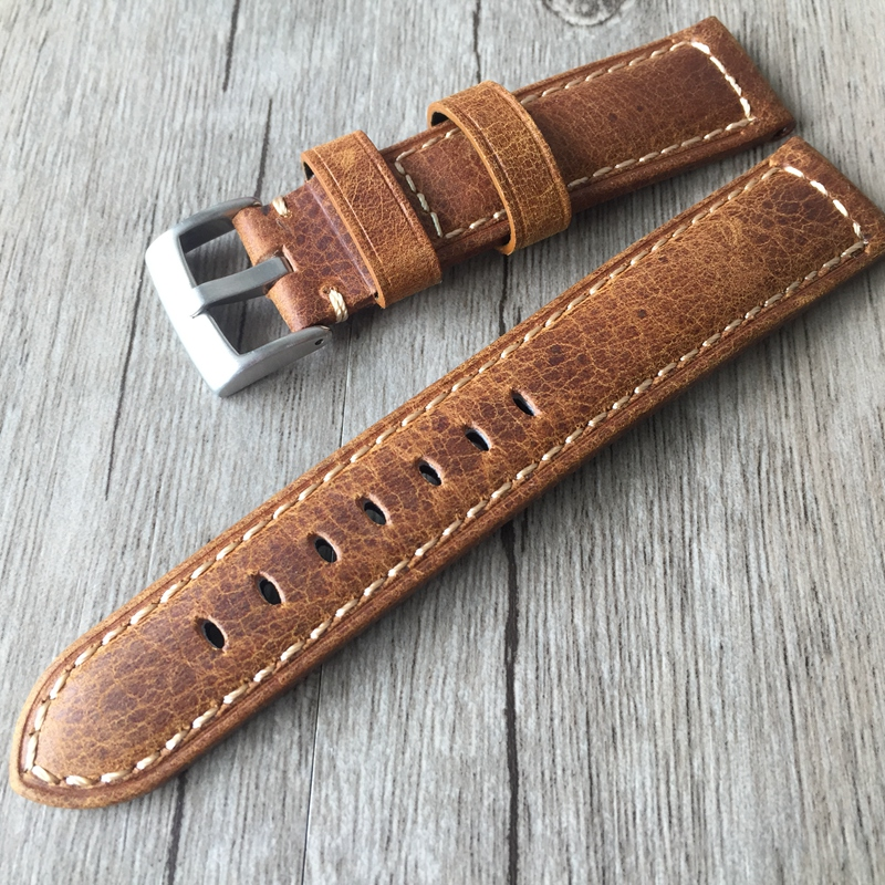 20mm 22mm Oil Wax Brown Gray Italy Genuine Leather Strap, Retro Classic Men Women Watchband Belt For Universal Watch