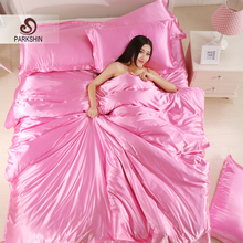 Parkshin Luxury Pink Silk Satin Bedding Set Soft Duvet Cover Queen King Size Adult bed Linen Pillowcase Sheet Home Textiles