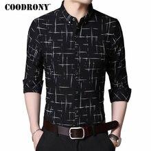 Рубашка COODRONY мужская с длинным рукавом, деловая повседневная одежда, хлопок в клетку, 2019