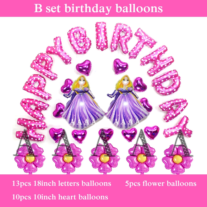 princess birthday balloons cartoon Rapunzel happy birthday balloons with 13 lett