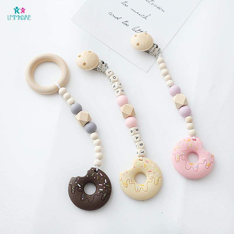 Baby Wooden Pacifier Clip Cartoon Cute Children's Silicone Pacifier Clamps  Beads Babies Chew Toy Soother Chains Baby Care