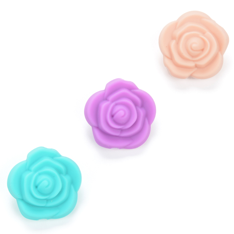 Lofca 20pcs Double Face Silicone Flower Beads Rose Teething Charm Teether Baby Chewing Hot Sale Necklace Soft Chewable Gift Toy Mother & Kids