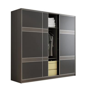 Wardrobe storage large capacity fashion wardrobe double hanging assembly cabinet reinforcement sliding wooden closet furniture
