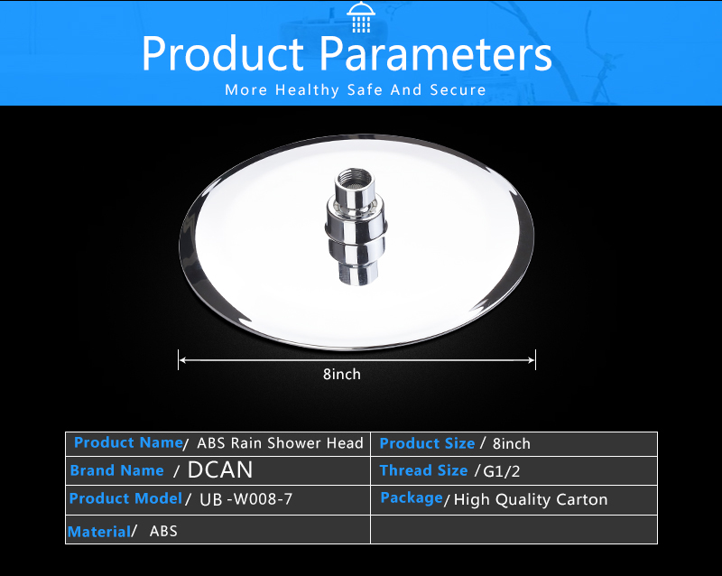 UFO Shower Head Showerhead Body Sprays Shower Head Round 8 Inch Ultra-Thin 2mm Bathroom Rain Shower Heads (11)