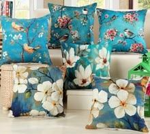 Blue Decorative Cotton Pillows Cover 45X45cm