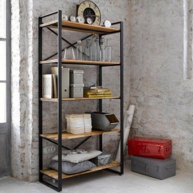 American Country Style Wrought Iron Wood Shelf Sideboard Storage Rack Vintage Bookshelf