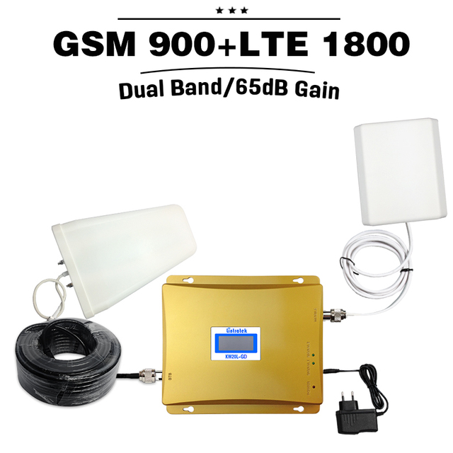 Display LCD GSM 900 4G LTE 1800 Repetidor GSM 900 1800 mhz 65dB Dual Band Mobile Phone Signal Booster Amplificador Repetidor Celular
