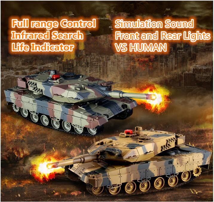 German Panthers battle RC tank HQ-516 IIA6 38CM simulation sound VS HUMAN Recreational infrared remote control main battle toy