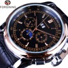 Forsining 2016 Moon Phase Shanghai Movement Calendar Design Rose Gold Genuine Leather Men Watch Top Brand