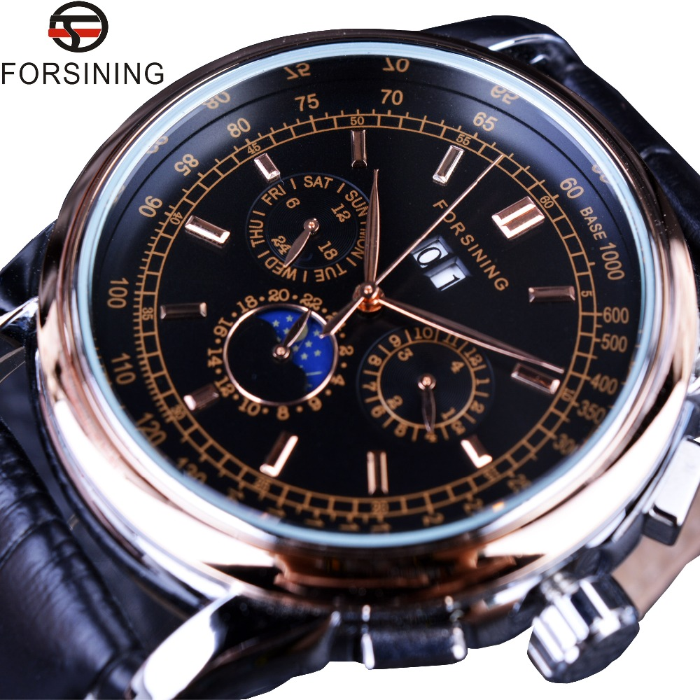 Forsining 2016 Moon Phase Shanghai Movement Calendar Design Rose Gold Genuine Leather Men Watch Top Brand Luxury Automatic Watch