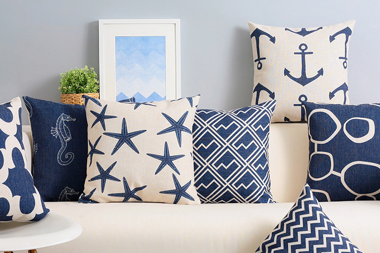 free shipping christmas mediterranean navy blue zigzags. Black Bedroom Furniture Sets. Home Design Ideas
