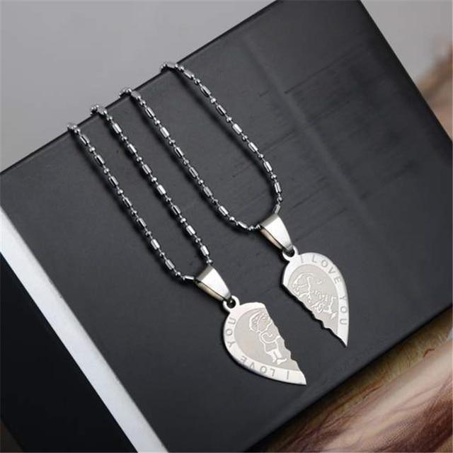 1 Pair Titanium Steel Heart Shape Pendant Necklace 5