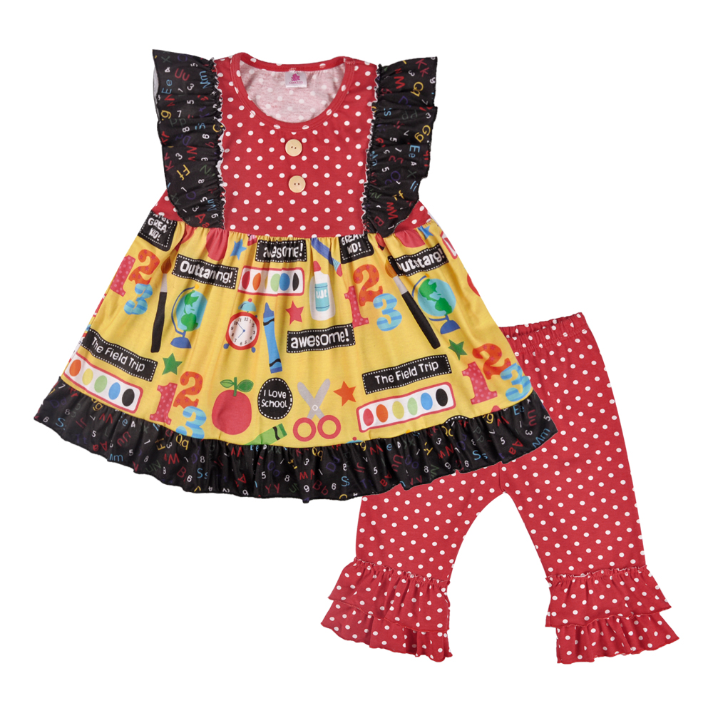 Mother & Kids Clothing Sets Back To School Boutique Girls Clothing Dress Kids Ruffle Pants Suits Baby Outfits Children Sets Free Shipping 2gk805-378 Firm In Structure