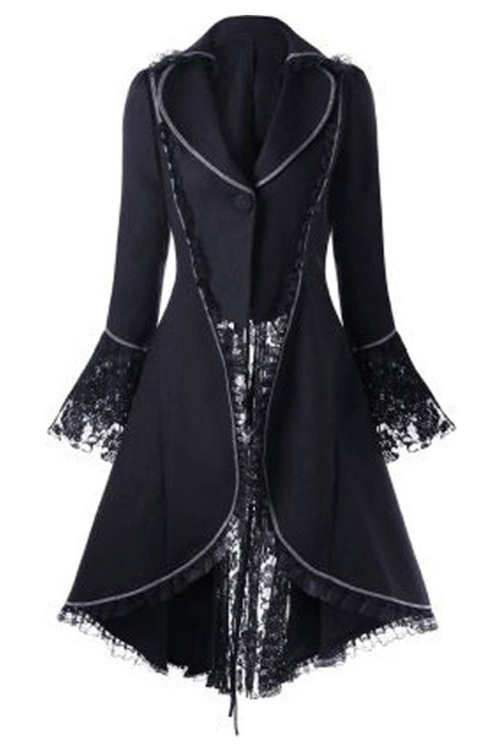 Womens Gothic Steampunk Corset Halloween Costume Coat Victorian Tailcoat Jacket