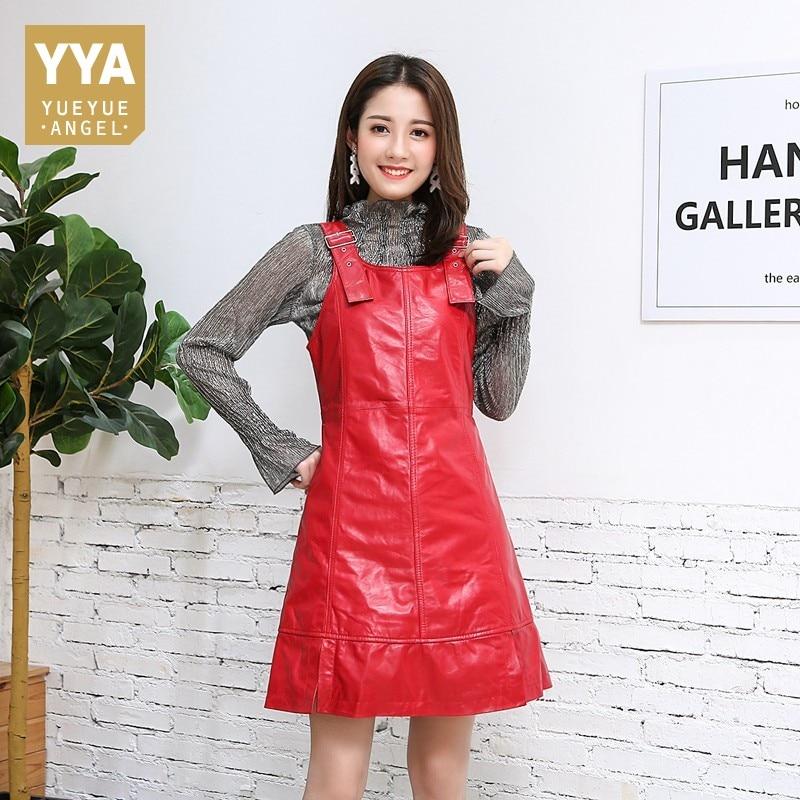 Casual Spaghetti Strap Women Genuine Leather Dress Brand Luxury Sheepskin Sleeveless Black Red Slim Sexy A