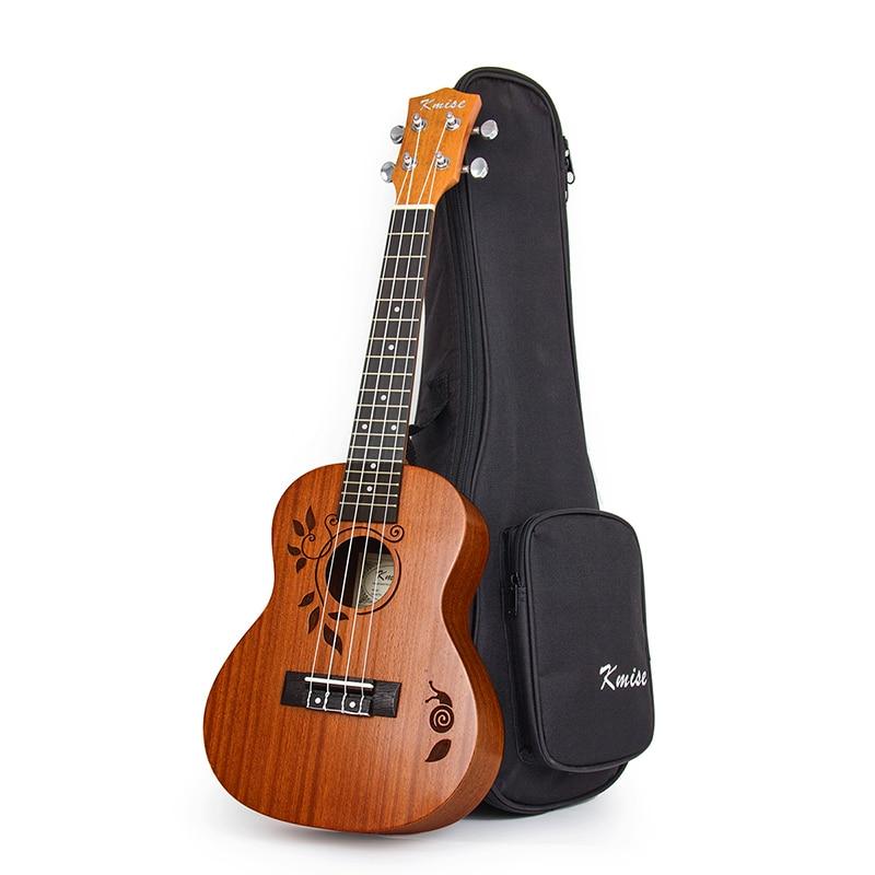 Kmise Concert Ukulele Mahogany Ukelele Uke 21 inch 18 Frets 4 String Acoustic Hawaiian Guitar with Gig Bag kmise concert ukulele black tint satin ukelele uke sapele 23 inch 18 frets 4 string hawaii acoustic guitar with gig bag