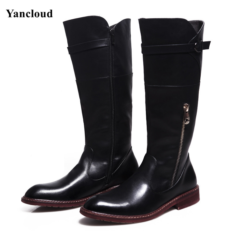 ФОТО Mens Cowboy Riding Boots Winer Fashion Mid Calf Men Shoes PU Leather Martin Boots Zipper Long Military Motorcycle Boots