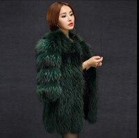 2017 new European and American big raccoon fur coat fur coat jacket and long style overcoat half sleeve