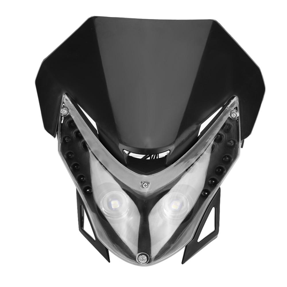 Universal Black DC12V Dirt Bike Motorcycle LED Headlight Sport Custom Fairing Light Built In LED Lamp BeadsTransparent Lens