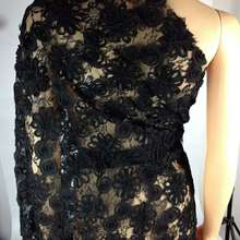 3D flower black lace fabric for bridal dress Latest david-62001 embroidered tulle french high quality net