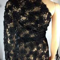 3D Flower Black Lace Fabric For Bridal Dress Latest David 62001 Embroidered Tulle French Lace Fabric