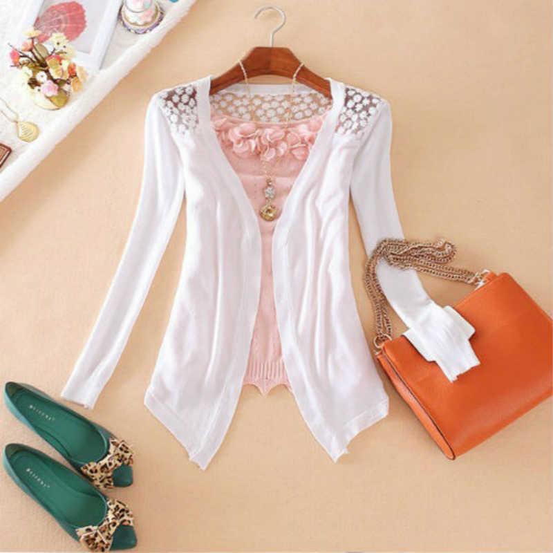 Women Knitted Cardigan Sweater Tops Women Candy Color Knitwear Hollow Lace sweater Long Sleeve Slim Thin Lace Hollow Out jacket