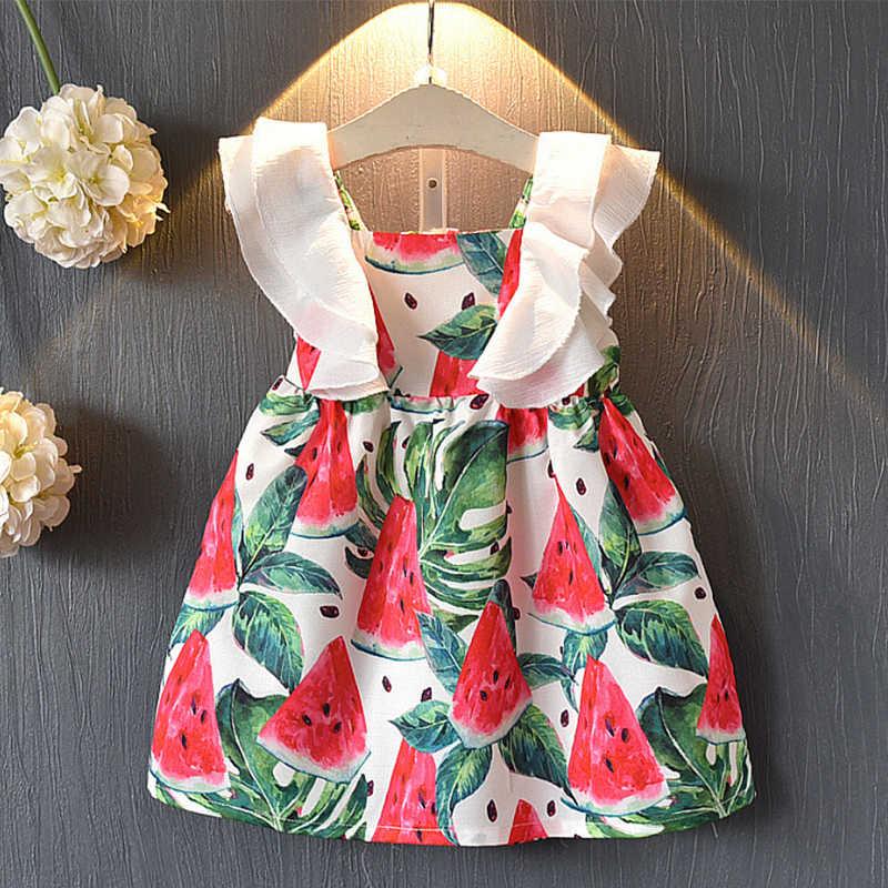 2019 Летние Симпатичные в виде арбуза платья для маленьких девочек платья для девочек с фруктами одежда для малышей вечерние платья без рукавов для девочек 3, 4, 5, 6, 7 лет