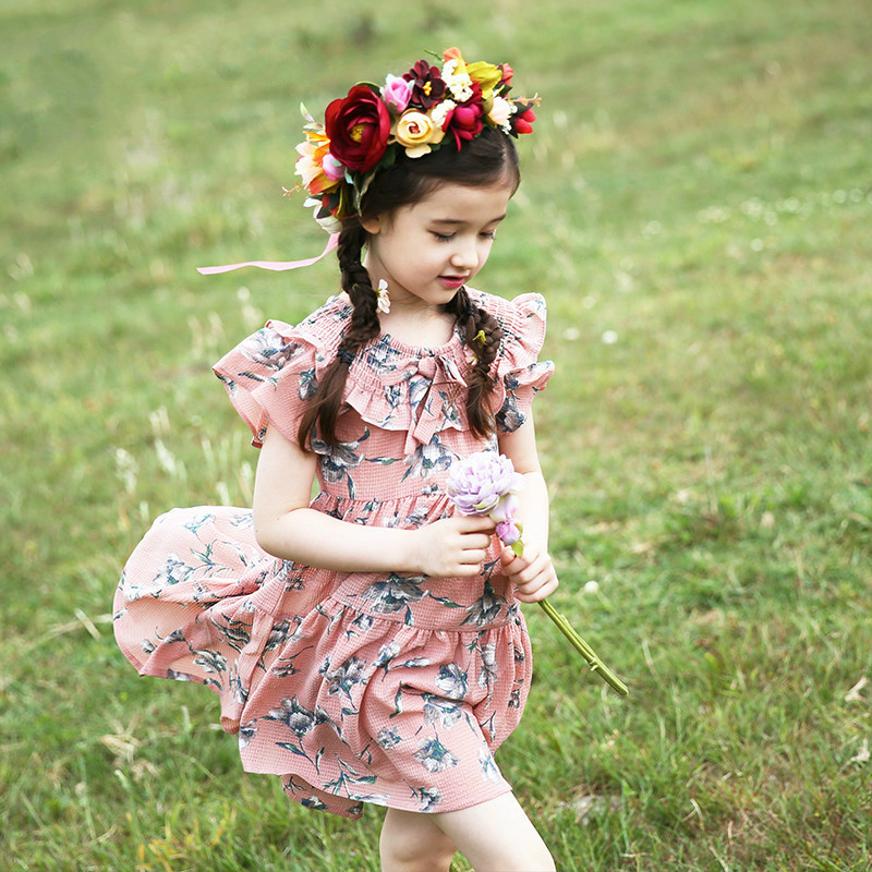 New 2017 Baby Dress Girls 100% Cotton Dress Children Florals Dress Kids Fashion Comfortable Dress Summer Clothes,3-12Y,#2144 little maven children brand clothes 2017 new summer baby girls clothes kids cotton tree house print dress s0008
